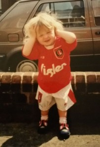 My daughter in her first Charlton kit ... she doesn't seem keen !